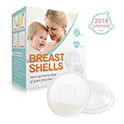 Breast Shells, Milk Saver [2018 Upgrade] Nursing Cups, Protect Sore Nipples for Breastfeeding, Collect Breast Milk Leak, BPA free, Soft and Flexible Silicone Material, Reusable, Set of 2