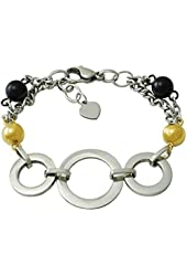 Ladies Two Tone Stainless Steel Circle Heart Tag Bracelet 8 inch