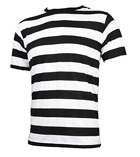 [Adult Men's Short Sleeve Striped Shirt Black White (XL)] (Pugsley Addams Costume)