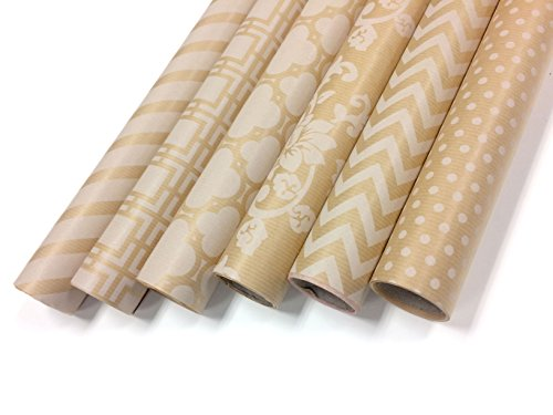Kraft and White Wrapping Paper Set - 6 Rolls - Multiple Patterns - 30
