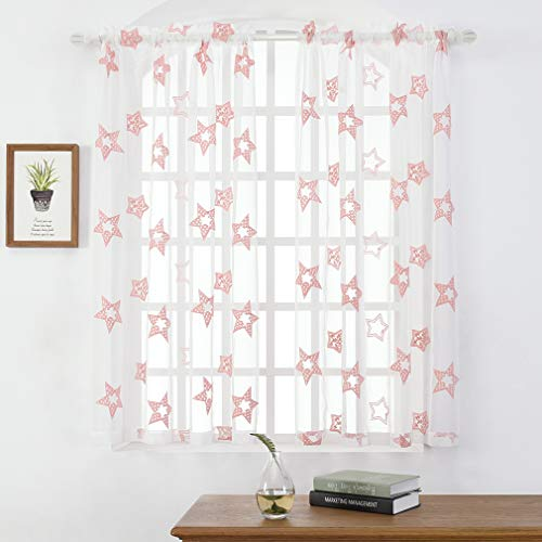 """Embroidery Sheer Curtains 63 Inches, Pink Star Rod Pocket Voile Drapes for Baby Girl Room, Living Room, Bedroom, Window Treatments Semi Crinkle Curtain Panels for Patio, Parlor, 2 Panels, 52""""x 63""""."""
