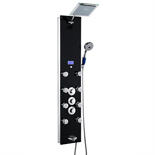 "AKDY 52"" Tempered Glass Shower Panel Rain Style Thermostatic Control Massage System"