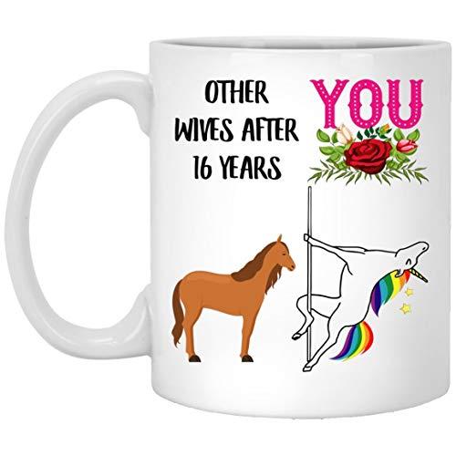 16th Anniversary Wedding Gifts For Her, 16 Year Yr Celebration Present for Wife, Funny Unicorn Coffee Mug 11oz