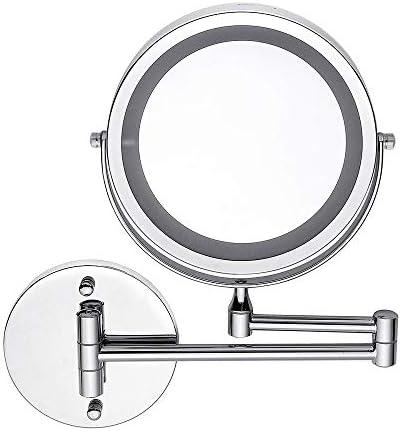 5X折りたたみ式化粧鏡7インチ拡大鏡LED照明付きバニティミラー、ポータブル照明付きバスルームシェービングミラースパ用360°スイベル、バスルーム