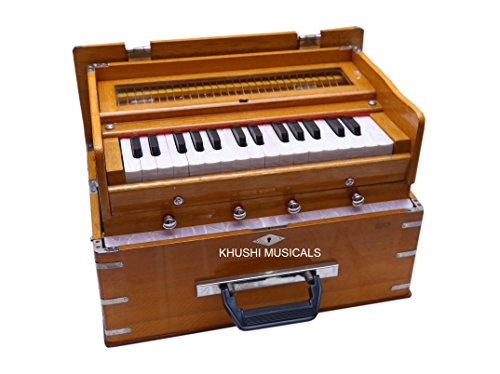 Khushi Musicals Traveler Harmonium 4 stopper (2 Stops + 2 Drones) 2.5 Octaves, 32 Keys, Special Reeds, A440 Tuning, Natural Color, Safri Model with Harmonium Learning Book And Bag