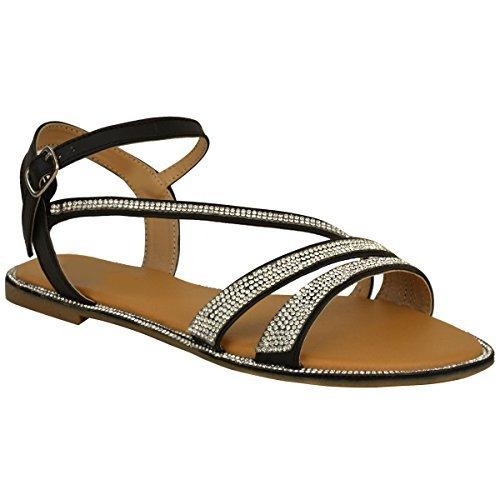 Plano Mujer Diamante Sandalias de verano De Tiras Playa Zapatos De Gladiador Tamaño RU Negro Piel Sintética/pedrería
