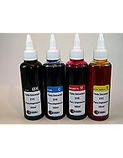 Uniwersalny tusz do drukarki kompatybilny z HP, Brother, Canon, Lexmark. 4 x 100 ml (czarny + cyjan + magenta + żółty).