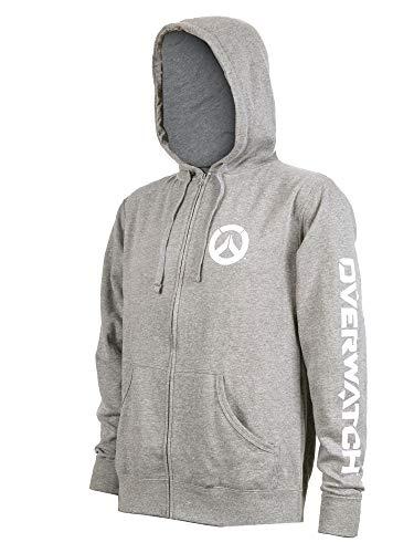Sweater Gunmetal Mens (JINX Overwatch Men's Logo Zip-Up Hoodie (Gunmetal Heather, Medium))