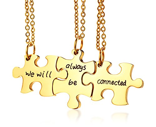 Mealguet Jewelry Gold Plated Stainless Steel Three Puzzle BFF Best Friend We Will Always be Connected Friendship Necklace Set for 3 (3 Piece Best Friend Bracelets)