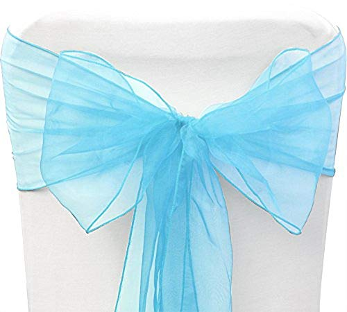 SARVAM FASHION SF New Pack of 10 Chair Decorative Organza Sashes Bow Designed for Wedding Events Banquet Home Kitchen Decoration - (10, Sky Blue)