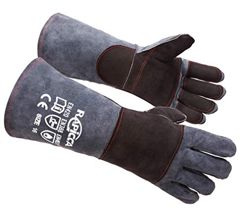 (RAPICCA Animal Handling Gloves Bite Proof Kevlar Reinforced Leather Padding Dog,Cat Scratch,Bird Handling Falcon Gloves Grabbing,Reptile Squirrel Snake Bite 16in Grey-Black)