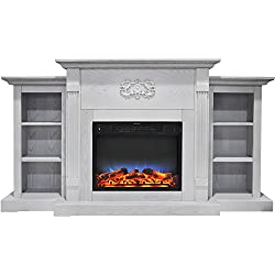 Cambridge CAM7233-1WHTLED Sanoma 72 In. Electric Fireplace in White with Built-in Bookshelves and a Multi-Color LED Flame Display by Cambridge