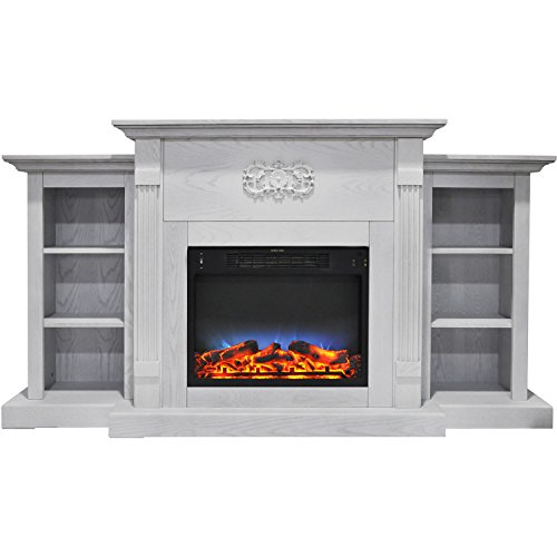 Cambridge CAM7233-1WHTLED Sanoma 72 In. Electric Fireplace in White with Built-in Bookshelves and a Multi-Color LED Flame Display