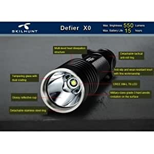 Easyshop skilhunt XO XM-L210W 650lm Ultra Brillo Luz Blanca Linterna