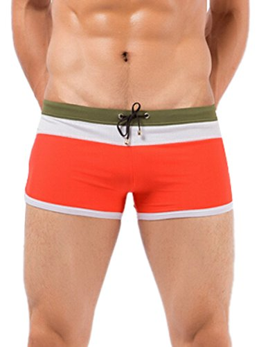 Men's Swimsuit Swimming Trunks Sexy Casual Sports Square Leg Suit Swimwear for Men Size XXXL - Red