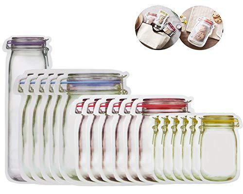 Mason - Bolsas de almacenamiento de alimentos con cierre, bolsas de almacenamiento herméticas reutilizables, bolsas de...
