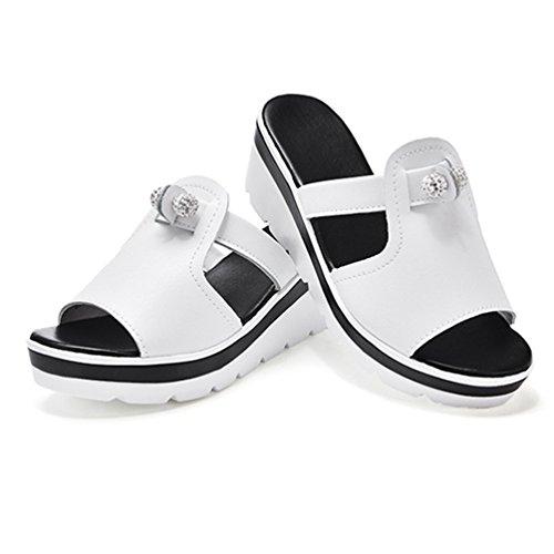 para Cuñas de Open Fashion Playa Black Slides Peep de Blanco de Plataforma Chunky de Tacón Sandalias Toe Sandalias Mujeres Alto wvWqIRxt
