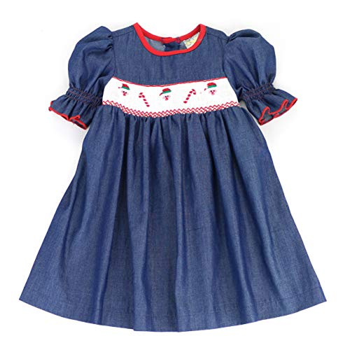 sissymini - Winter Wonderland Embroidered Christmas Hand Smocked Dress for Toddlers (Chambray Santa, 2T)