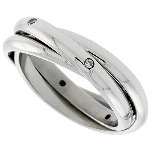 - Surgical Stainless Steel Cubic Zirconia Rolling Ring Triple Wedding Band 3mm, size 7