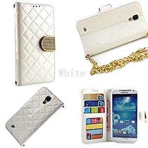 ZL Fashion Squares Chain Design PU Leather Full Body Case with Card Slot Cover for Samsung S4 I9500 Case (Assorted Colors) , White