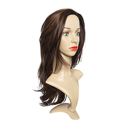 Namecute Hair Wig Layered Mixed Brown Wigs Natural Straight Heat Resistant Fiber Long Hair for Women + Free Wig Cap