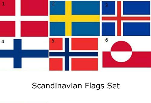 ALBATROS 3 ft x 5 ft Lot Set Scandinavian Countries 6 Flags Flag for Home and Parades, Official Party, All Weather Indoors Outdoors -
