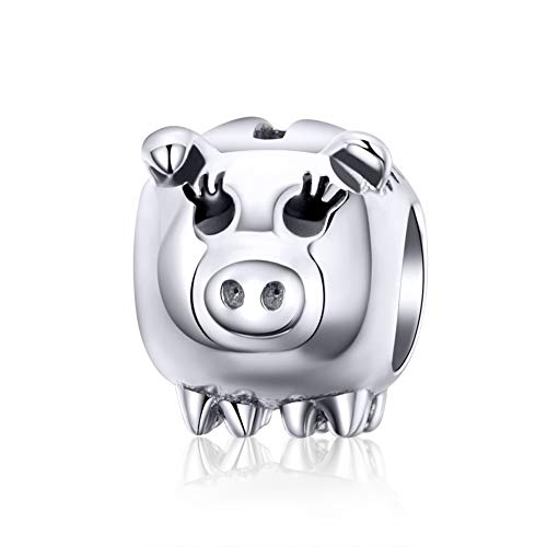 (BAMOER 925 Sterling Silver Cute Pig Charms Lucky Piggy Silver Charm Beads for Women fit Snake Bracelets DIY Jewelry Children's Day Gift)