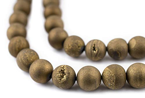 TheBeadChest Gold Round Druzy Agate Beads (10mm): Organic Gemstone Round Spherical Energy Stone Healing Power for Jewelry Bracelet Mala Necklace Making