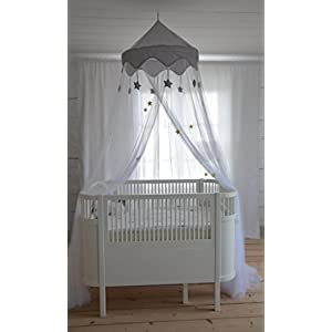 Nomad Nets Luxury Girls Bed Canopy - Glowing Stars - Fits Cribs, Twin, Queen, King Size Beds - White Color - Hanging Above Bed Mosquito Net Curtain With Glow In The Dark Stars And Easy Installation