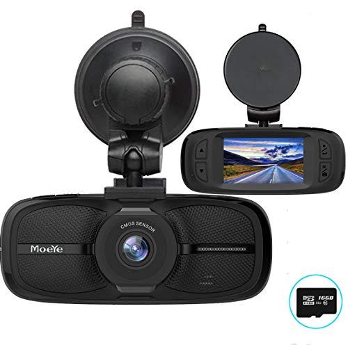 Moeye Dash Cam, 720P HD Dashboard Camera with 2.7'' LCD Screen, 16GB TF Card, Night Vision, Loop Recording - Black by Moeye