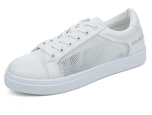 XIE Señora Zapatos Verano Permeabilidad Malla Superficie Ocio Movimiento Blanco Pequeño Zapatos Estudiantes Escuela Diaria Blanco, White, 39 WHITE-37