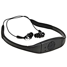Efanr Head Mounted IPX8 Waterproof Bluetooth Headset, Neckband Hi-fi Stero Earphone Headphone With Microphone for Swimming, Surfing, Diving, Underwater Sport (Black)