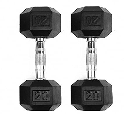 GYMENIST Set of 2 Hex Rubber Dumbbell with Metal Handles, Pair of 2 Heavy Dumbbells (20 Lb)