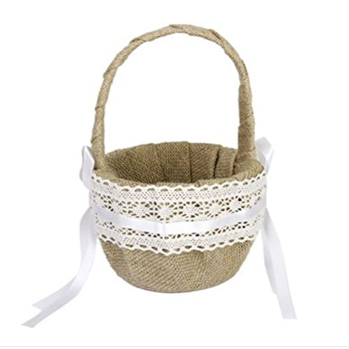 Tinksky Burlap Flower Basket for Wedding Ceremony Party - Delicate Lace Ribbon Decorated]()
