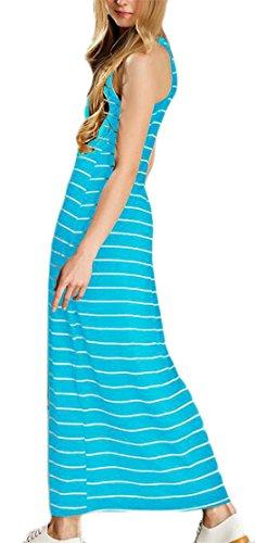 Jaycargogo Des Femmes De Robes Sans Manches Équipage De Cou De Mode Maxi Rayures Bleu Ciel Bodycon