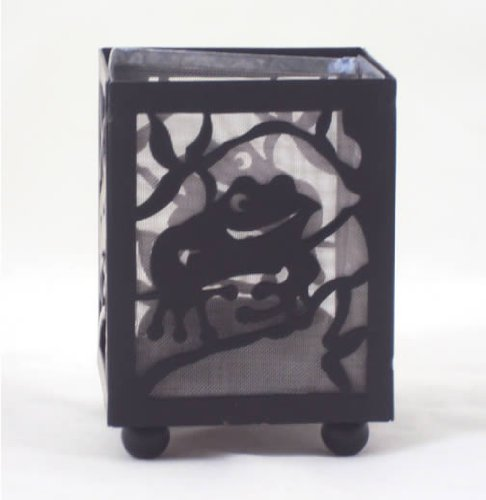 Hand Painted Metal Shadow Play Tea Light Candle Holder - Frog