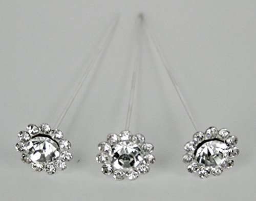 - NST 24 Bouquet Pins Corsage Wedding Round Floral Design Crystal Rhinestone Diamond