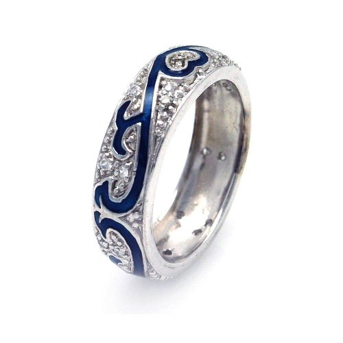 Pave Set Cubic Zirconia Blue Enamel Eternity Ring Rhodium Plated Sterling Silver Size 7 Blue Enamel Cubic Zirconia Ring