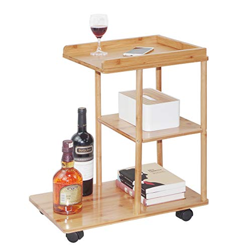 Bamboo Rolling Sofa Side Table Mobile Snack Coffee Tray End Table with Wheels for Living Room Bedroom Small Spaces