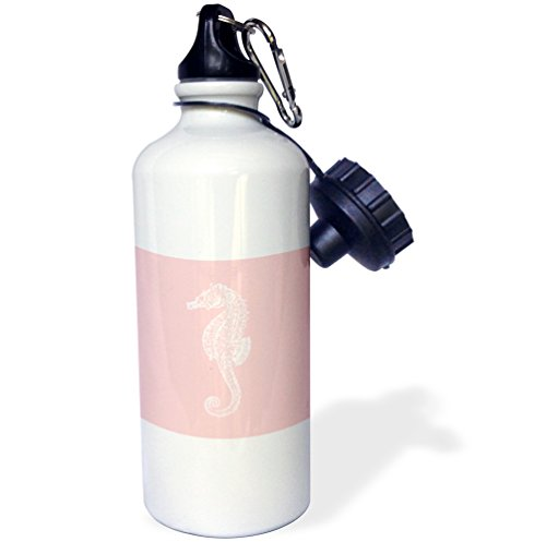 "3dRose wb_164961_1 ""Coral pink Seahorse print. Sea Horse. Ocean marine beach aquarium"" Sports Water Bottle, 21 oz, White"