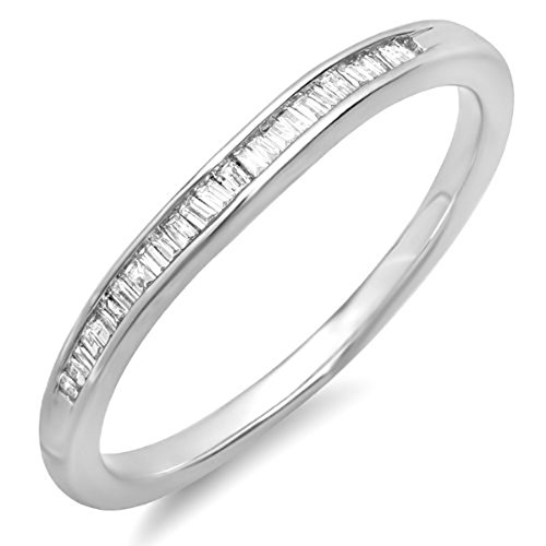 Dazzlingrock Collection 0.15 Carat (ctw) Sterling Silver Baguette White Diamond Ladies Anniversary Wedding Band, Size 6