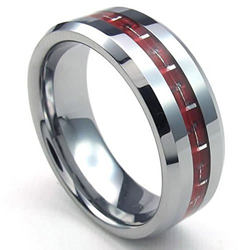 ANAZOZ Vintage Style 8MM Red Carbon Fiber Inlaid Tungsten Wedding Engagemeng Rings Size 9