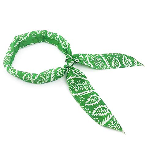 Eutuxia Cooling Scarf. Wrap Soaked Tie Around Neck, Head to Instantly Chill Out. Crystal Polymer Keeps Cool, Reusable. Great for Summer, Indoor, Outdoor, Leisure Activities, Sports. [Green -