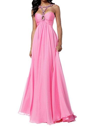 Damen Charmant Bodenlang Pink Rock Linie Langes Abendkleider Jugendweih Partykleider Kleider Hell Chiffon A Blau dqFnCxq