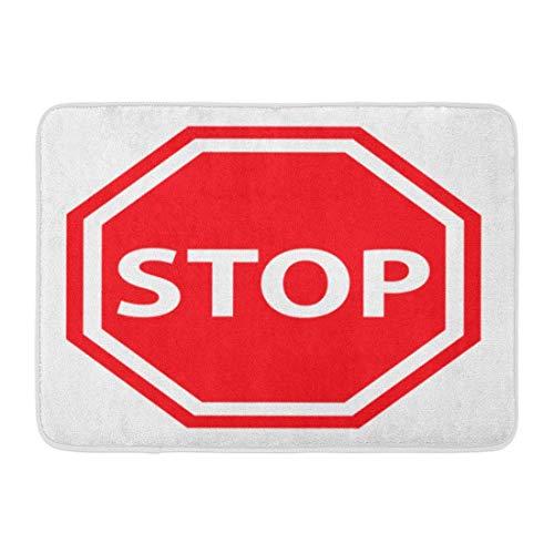 Puyrtdfs Doormats Bath Rugs Outdoor/Indoor Door Mat Red Traffic Stop Sign Access Admission Area Boundary Clipart Bathroom Decor Rug 16