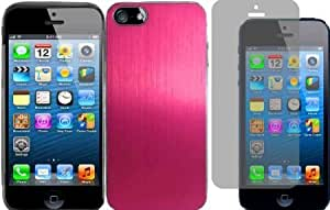 Quaroth For Apple Iphone 5 5G 6th Gen Accessory Metal Cover Case Hot Pink+LCD Screen Protector