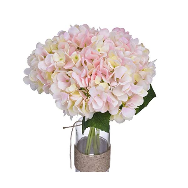 Anna Homey Decor Pink Hydrangeas Flowers Artificial Silk Floral Spring Wreath Bridal Wedding Bouquet Fake Hydrangea Flowers Bouquet for DIY Home Hotel Party Garden Office Floral Decor,Pack of 1