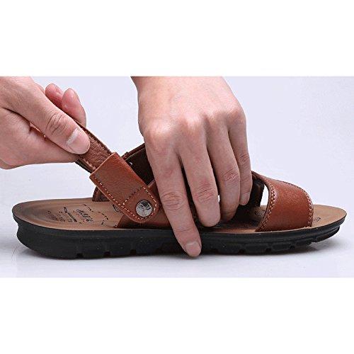 Zapatos Hombres Nuevo Padre Negro Zapatos Playa Verano De 2018 De Sandalias Tamaño Amarillo Los Casual De WKNBEU Los De A Marrón Hombres Cuero Zapatillas De De Gran xAcYC
