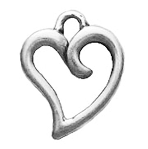 925 Sterling Silver Classic Lovely Curved Heart Charm For Bracelet/Necklace
