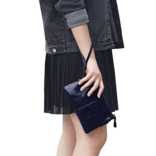 Jack&Chris Women's Small Leather Wristlet Wallets Clutch Handbag Shoulder Bag Purse, WBGT045 - Chris Blue Brown